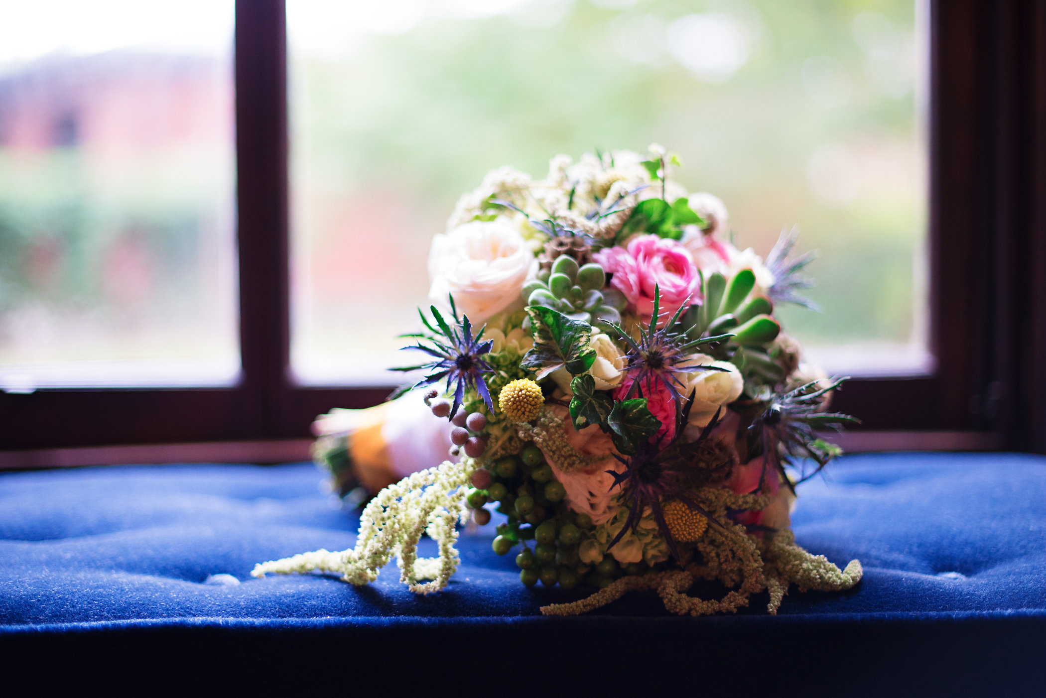 Bridal bouquet on a Lippitt House window seat