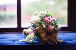 Bridal bouquet on a Lippitt House window seat