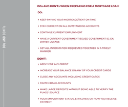 Loan Options Dos and Donts