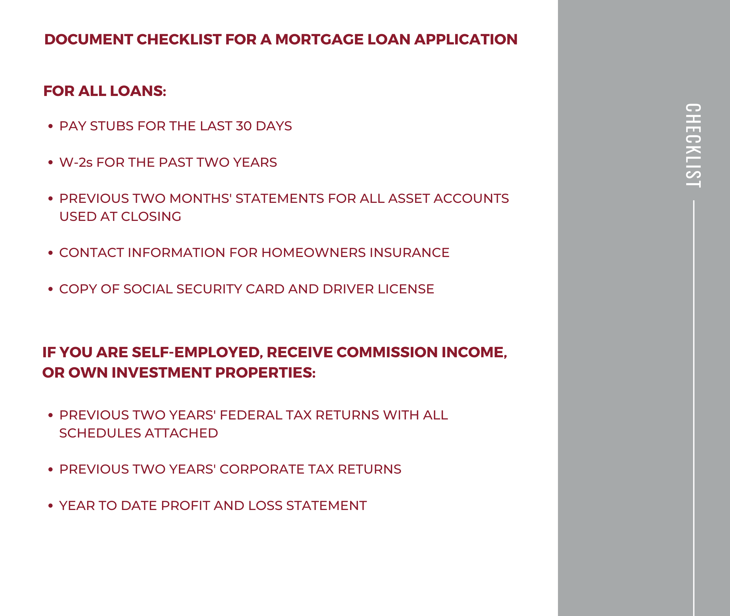 Loan Options Checklist
