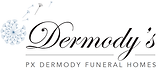 PX Dermody Funeral Home logo, flower seed head with some seeds floating away