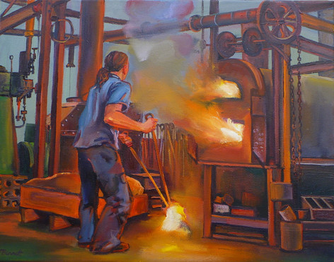 E91- All fired up 2011oil on canvas 36 x