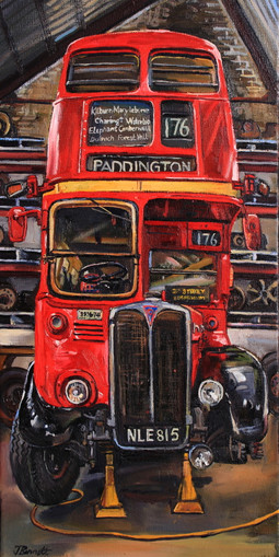 BUS 7 London bus' 2017 oil on canvas 51
