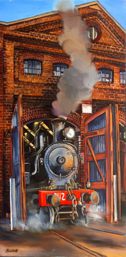 E28 'The 3112 in steam' 2007 oil on canv