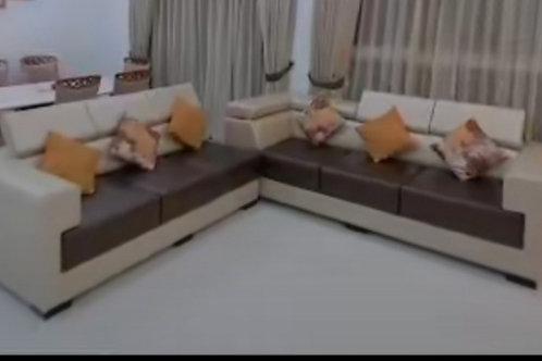 modern brown and cream colour sofa