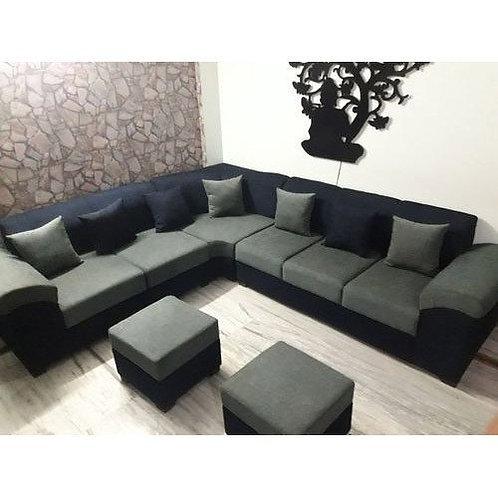 black modern sofa l-shape