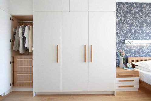 Pure white metal coloured cupboards