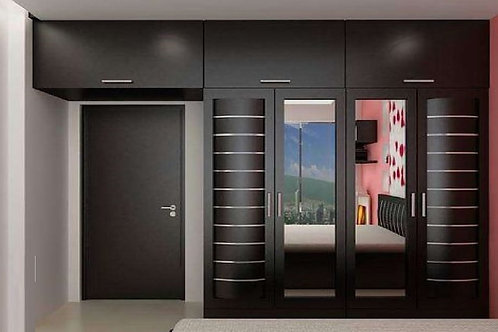 Shiny black bedroom cupboards