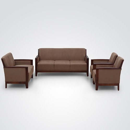 simple modern brown colour sofa with two armchairs
