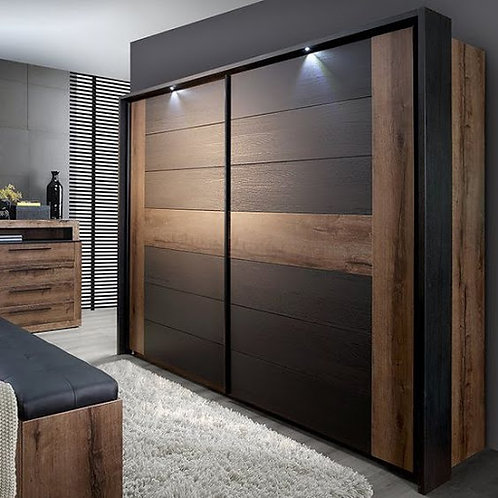 Sliding bedroom cupboards with a flowing brown and black colour