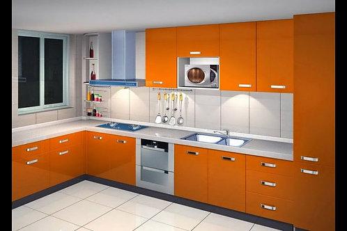 Orange kitchen cabinet set