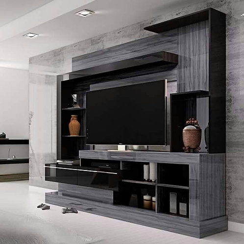 Chocolate black and grey coloured tv unit