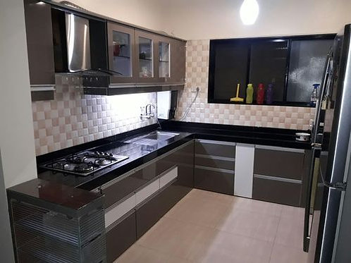 Glossy finish kitchen cabinet