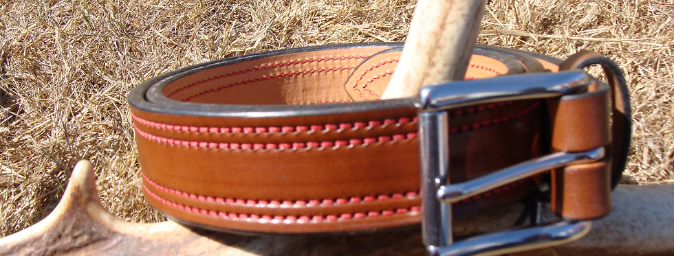 Double Stitched CCW Belt. Walnut with Red thread
