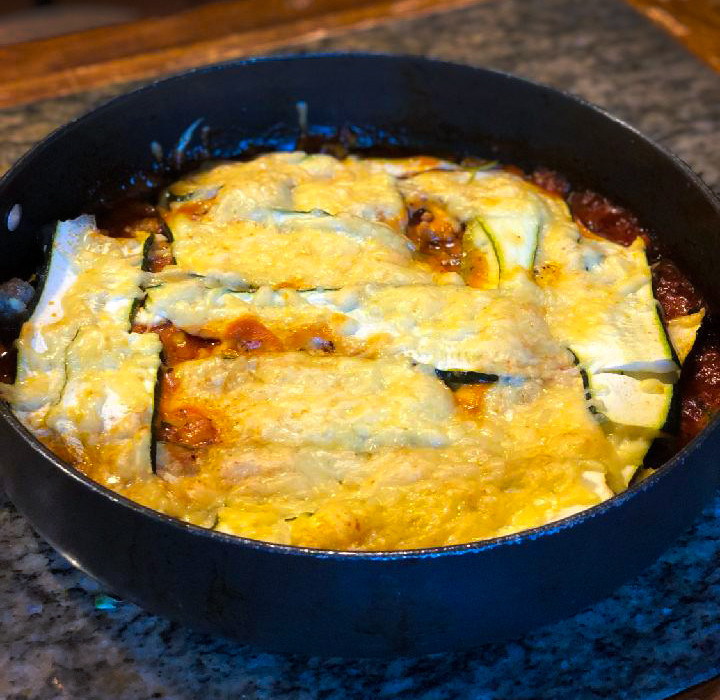 Zucchini and Sausage Lasagna in a Skillet