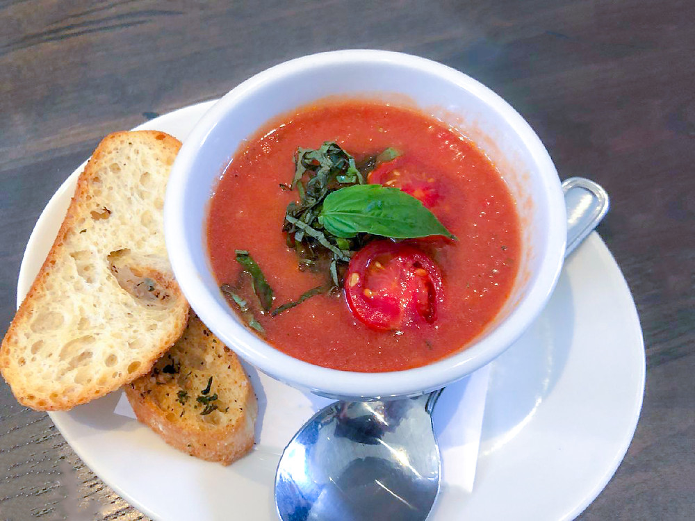 This gazpacho salad is a tomato mixture with cucumber and olive oil with vinegar. You blend or process the soup with tomatoes in a food processor and refrigerate to make a cold soup or stew. It is really nice for hot summer weather and especially if you like tomatoes and peppers.
