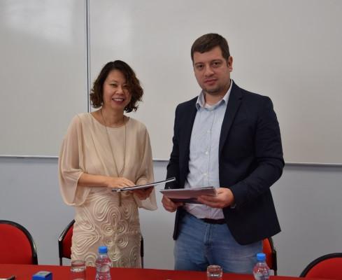Dr. Melinda Tan, UCLan Cyprus Rector & Mr. Georgios Pagkos, Mnorel Ltd CEO