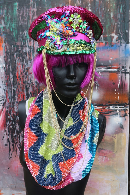 RAINBOW STAR CHAINED MILITARY HAT