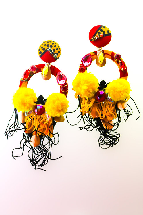 RED & YELLOW STRING TASSLE EARRINGS