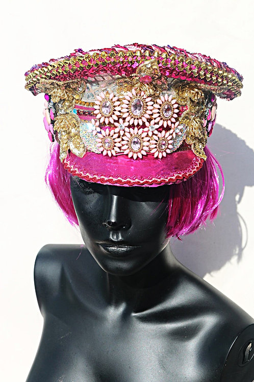 HOT PINK FLOWER POWER SEQUINED MILITARY HAT