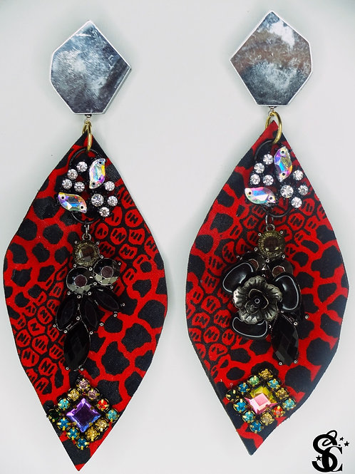 VIBRANT RED AND BLACK EARRINGS