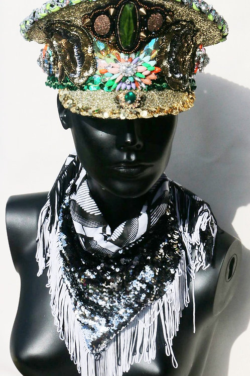 EMERALD GREEN & GOLD SEQUINED MILITARY HAT
