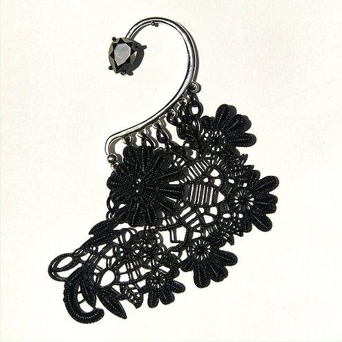 Ear Cuff (metal, lace) black/silver