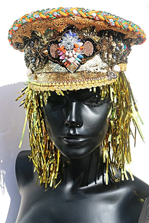 GOLD & BURNT ORANGE SEQUINED MILITARY HAT