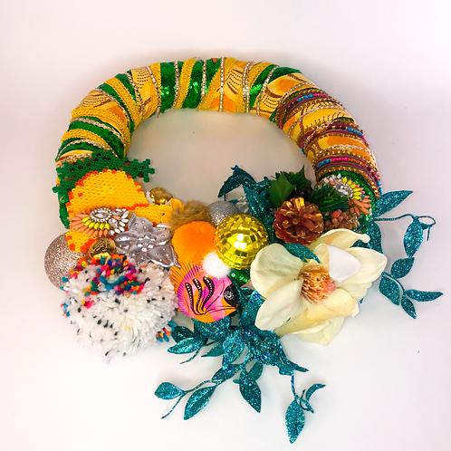 Yellow and Green upcycled wreath