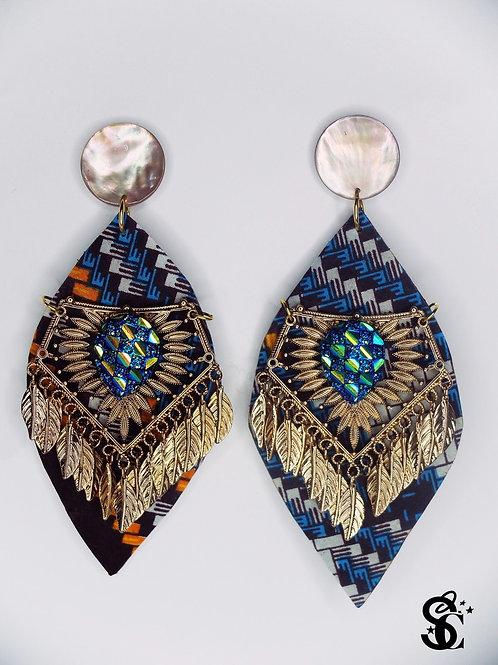 SAPPHIRE BLUE LEAF EARRINGS