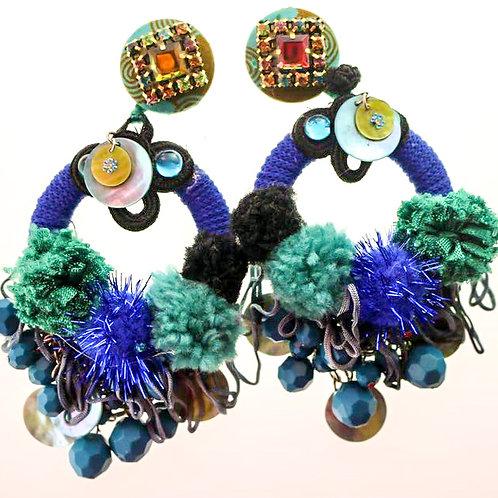 VIVID BLUE THREADED HOOP EARRINGS