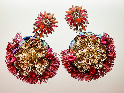 RED STARFLOWER SEQUIN EARRINGS