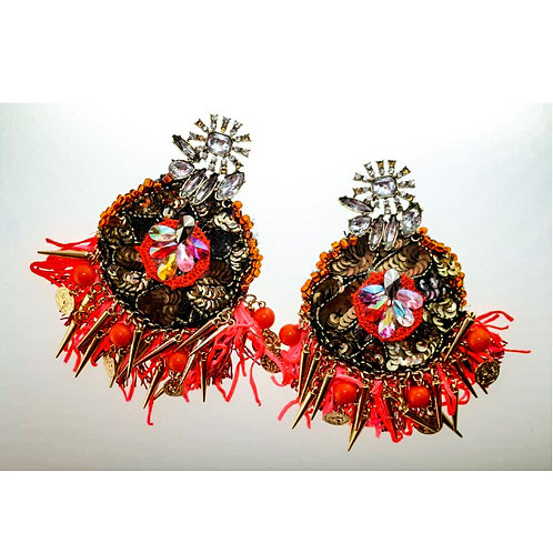 BLACK AND RED FANNED EARRINGS