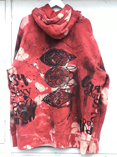 3xl  dark coral hoodie with mask anf crazycoolsexy  print