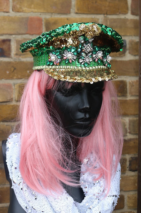 JADE GREEN FLORAL MILITARY HAT