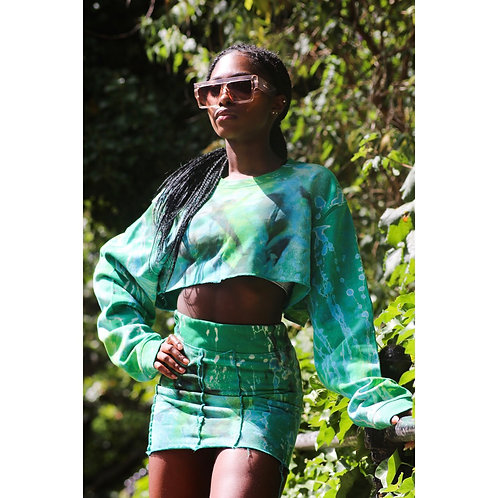 Chloe Green two piece cropped top and skirt