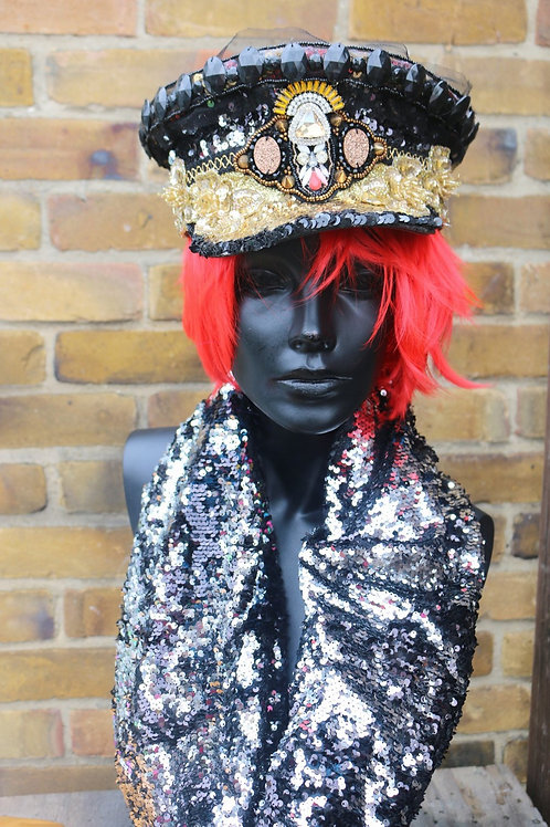 GOLD & BLACK SEQUINED MILITARY HAT