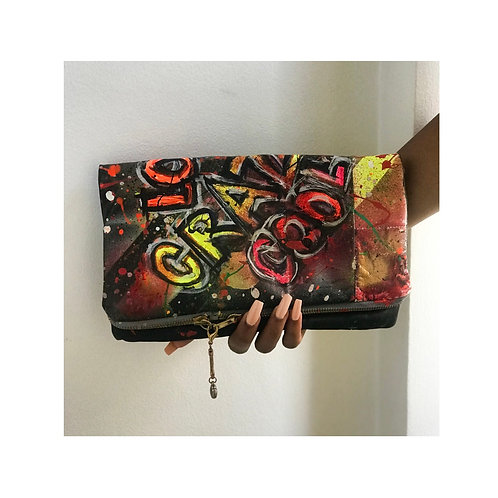 Hand Crafted Vintage Leather  clutch bag