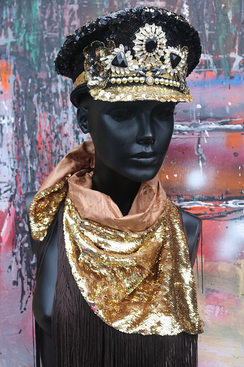 OBSIDIAN GEMSTONE SEQUINED MILITARY HAT