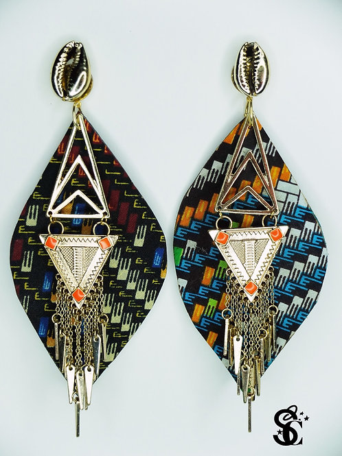 GOLD AND ORANGE TRIANGLE DROP EARRINGS