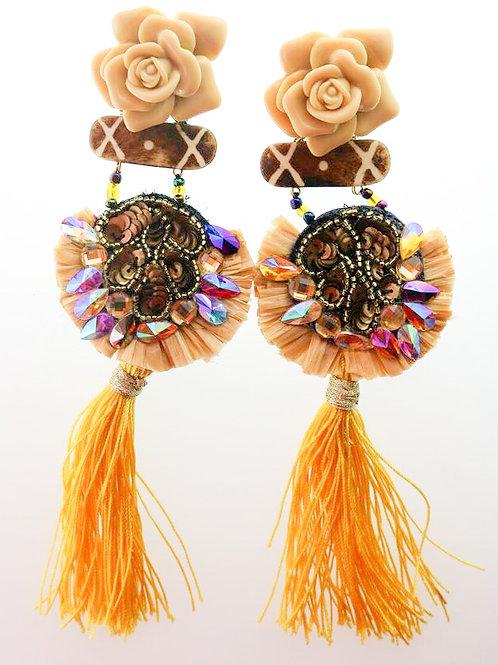 YELLOW ROSE TASSLED EARRINGS