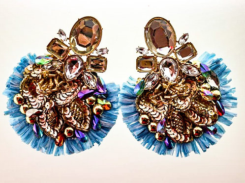 BABY BLUE & GOLD SEQUIN EARRINGS