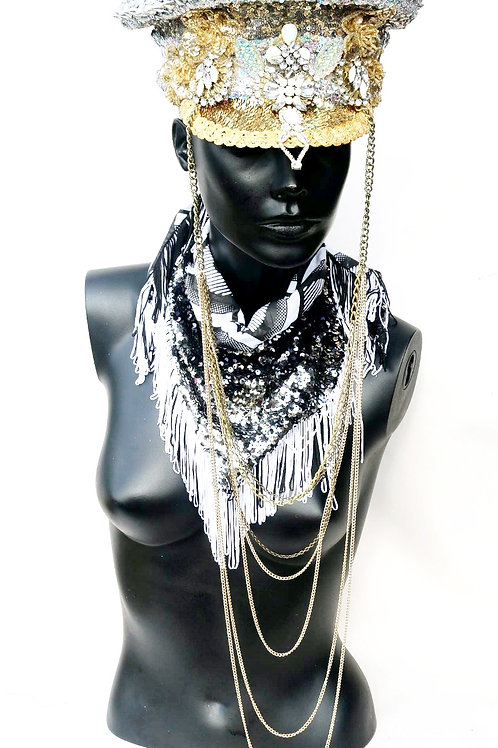 SILVER & GOLD CHAIN SEQUINED MILITARY HAT