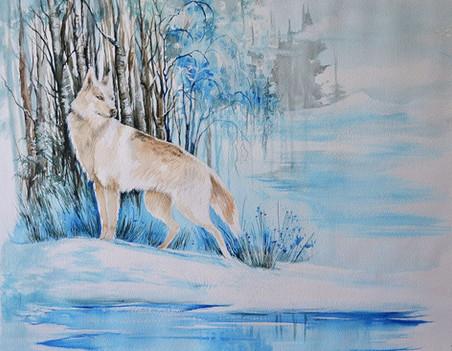 White winter wolf
