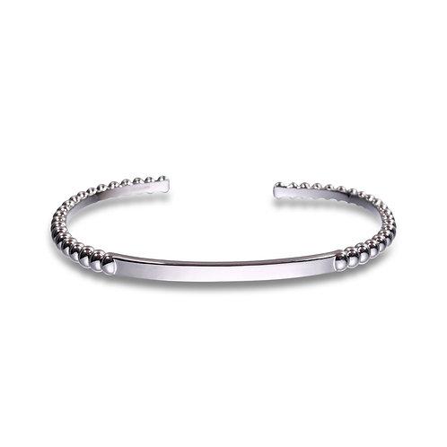 Beaded Cuff Bracelet in Silver