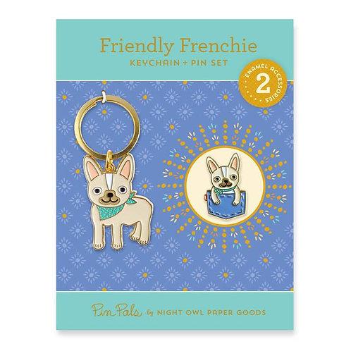 Friendly Frenchie Keychain + Enamel Pin Gift Set