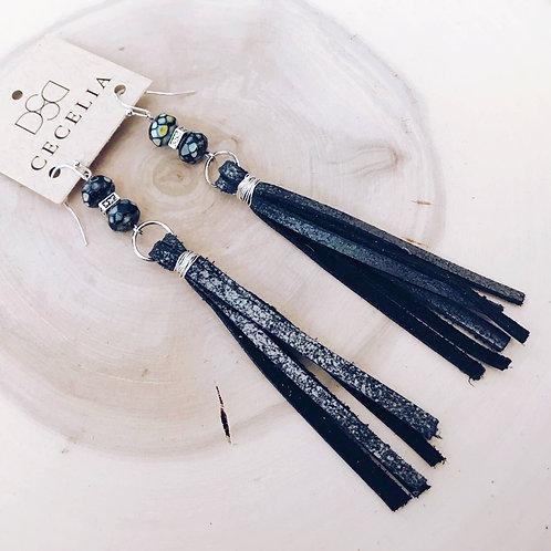 Black Sugar Leather Tassel Earrings