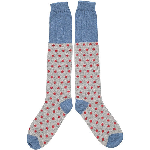 Small Spot Knee Sock in Gray/Red