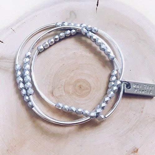 Triple Wrap Bracelet in Matte Silver