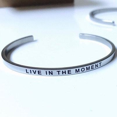 'Live in the Moment' Mantra Bracelet